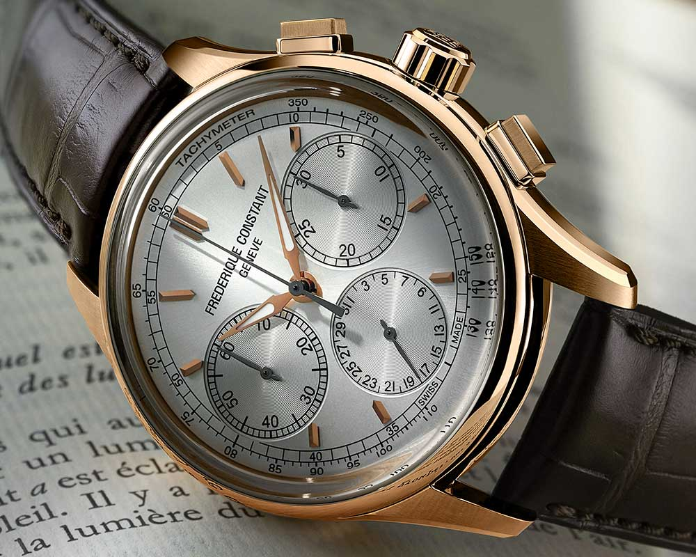 frederique constant flyback chronograph manufacture closeup