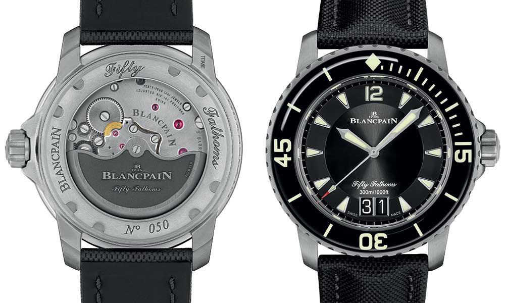blancpain fifty fhatoms grande date closeup with caseback