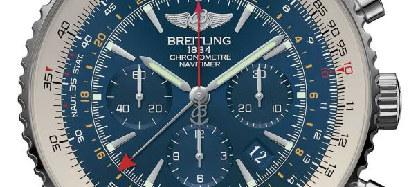 closeup of the breitling navitimer gmt aurora blue