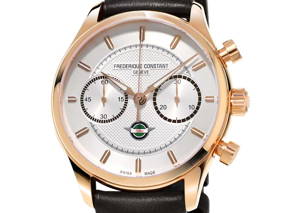 frederique constant vintage rally healey chronograph automatic closeup gold