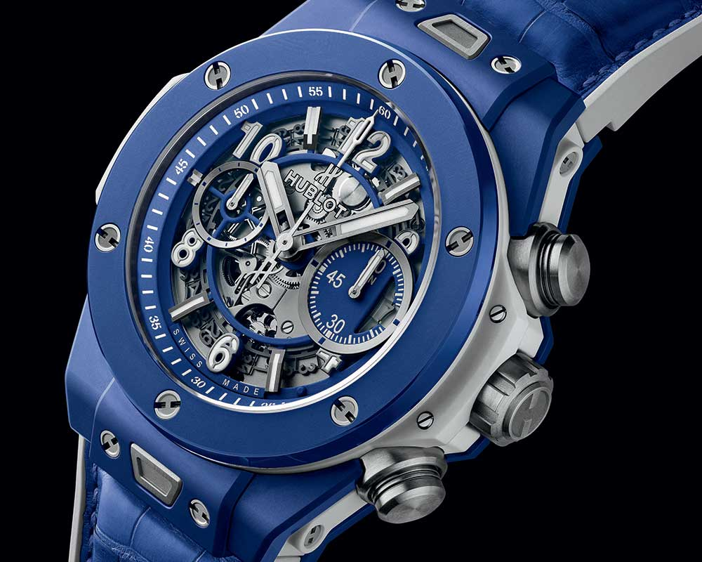 hublot big bang blue closeup