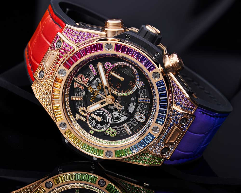 hublot big bang one click rainbow closeup