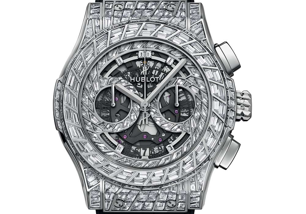 hublot classic fusion aerofusion chronograph high jewellery closeup
