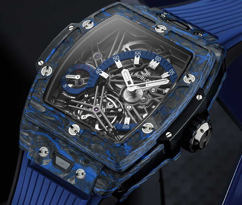 hublot spirit big bang tourbillon carbon blue profile