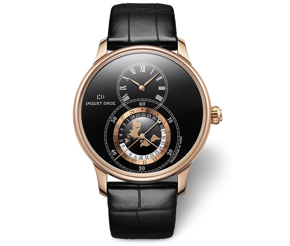 jaquet droz grande seconde dual time closeup
