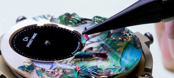 jaquet droz tropical bird repeater closeup