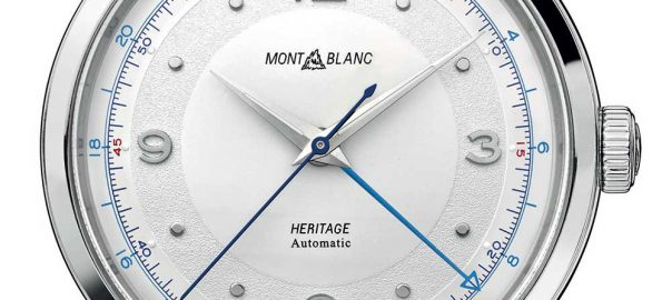 montblanc heritage gmt closeup on the dial