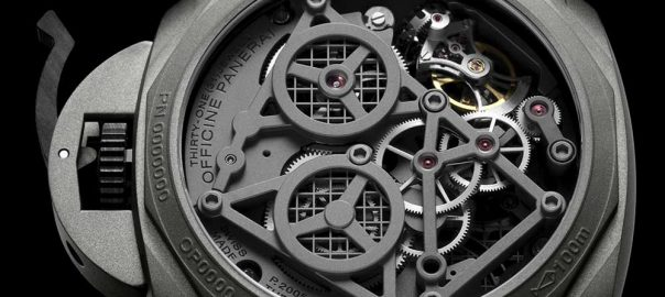 panrai luminor tourbillon gmt 47 caseback closeup
